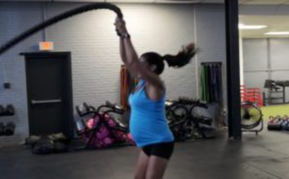 Deb using the Battle Ropes